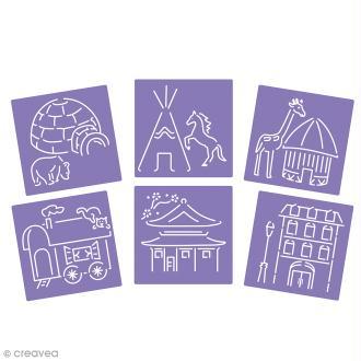 Lot de pochoirs - Maisons du monde - 15 x 15 cm - 6 pcs