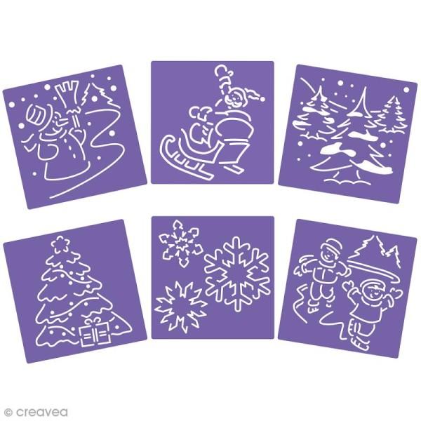 Lot de pochoirs - Scènes de noël - 15 x 15 cm - 6 pcs - Photo n°1