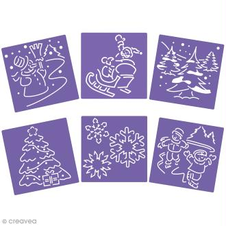 Lot de pochoirs - Scènes de noël - 15 x 15 cm - 6 pcs