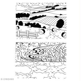 Lot de planches à embosser - Paysages - A4 - 2 pcs
