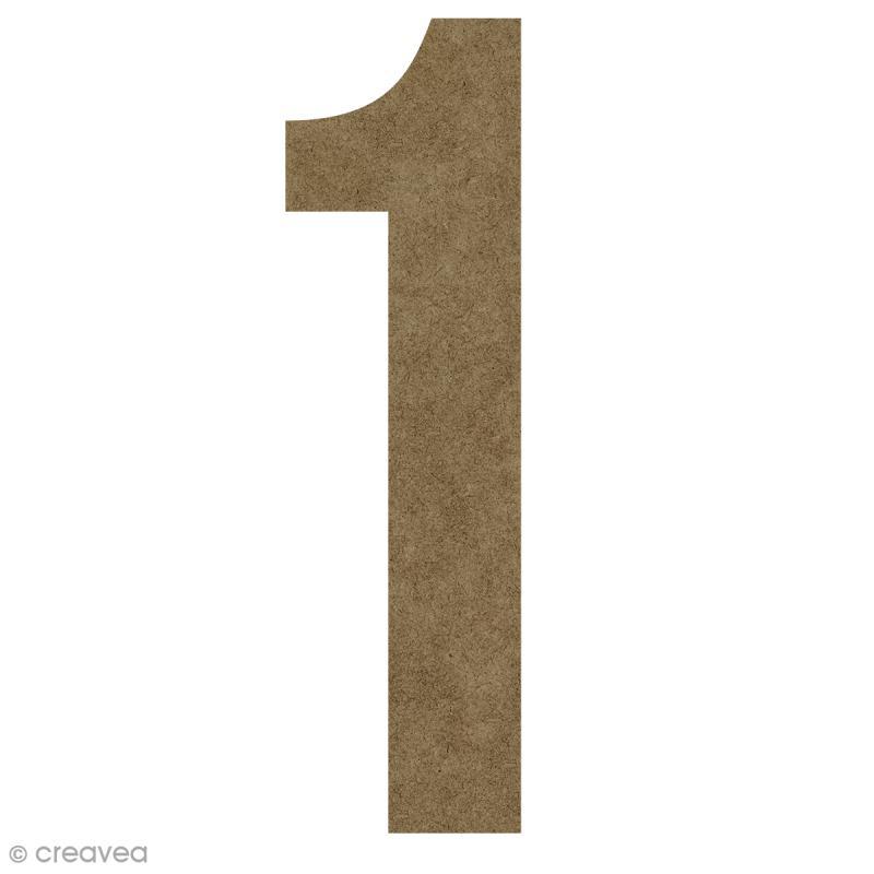 Chiffre en bois à décorer 1 - 50 cm - Photo n°1