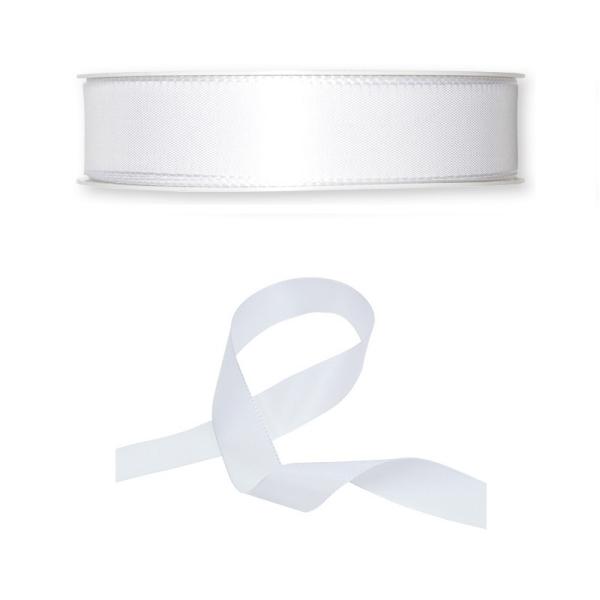 Ruban en Satin simple face, Blanc, largeur 25 mm, longueur 39 m, tissu décoratif - Photo n°1
