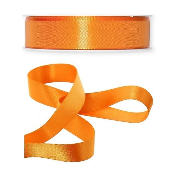 Ruban en Satin simple face, Orange, largeur 25 mm, longueur 9 m, tissu décoratif - Photo n°1