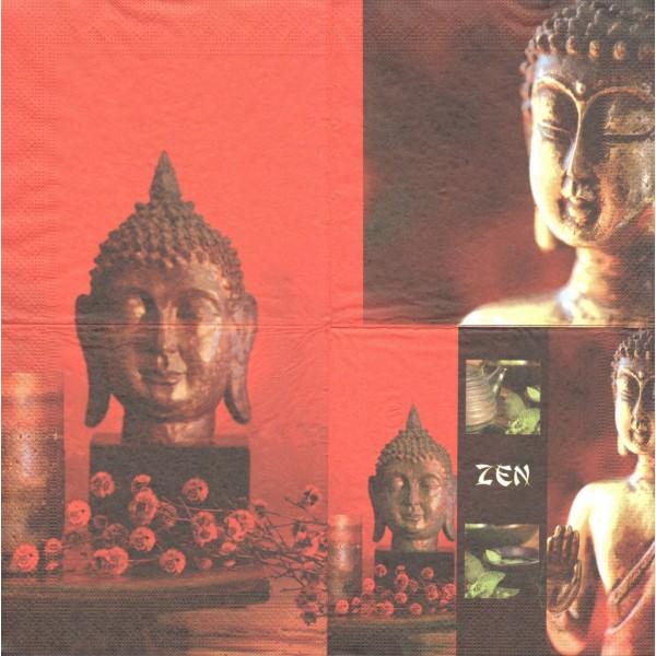 4 Serviettes en papier Inde Zen Bouddha Format Lunch Decoupage Decopatch H301-069 - Photo n°2