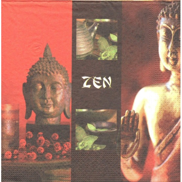 4 Serviettes en papier Inde Zen Bouddha Format Lunch Decoupage Decopatch H301-069 - Photo n°1
