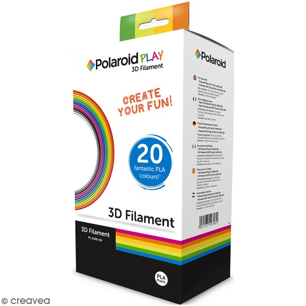 Assortiment filament PLA pour stylo 3D Polaroid - 5 m - 20 couleurs - Photo n°1