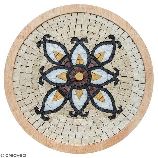 Kit mosaïque - Rosace blanche avec cadre en bois - 20 cm - Photo n°1