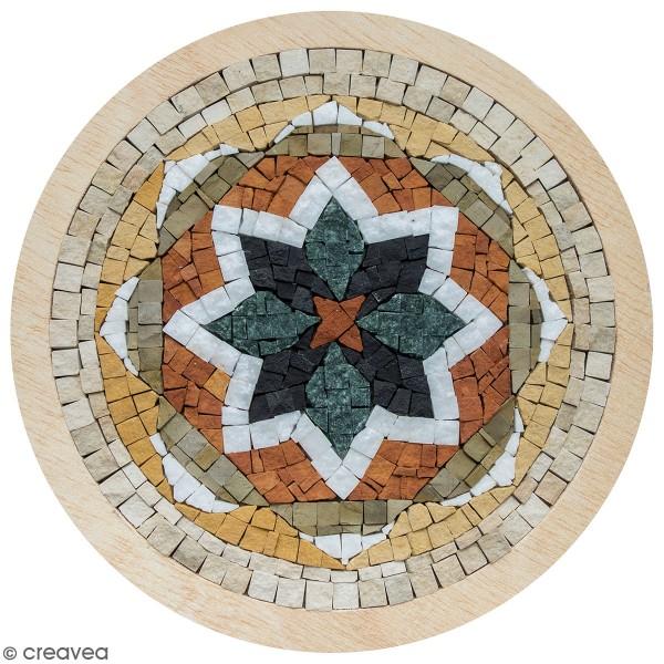 Kit mosaïque - Rosace verte avec cadre en bois - 20 cm - Photo n°1