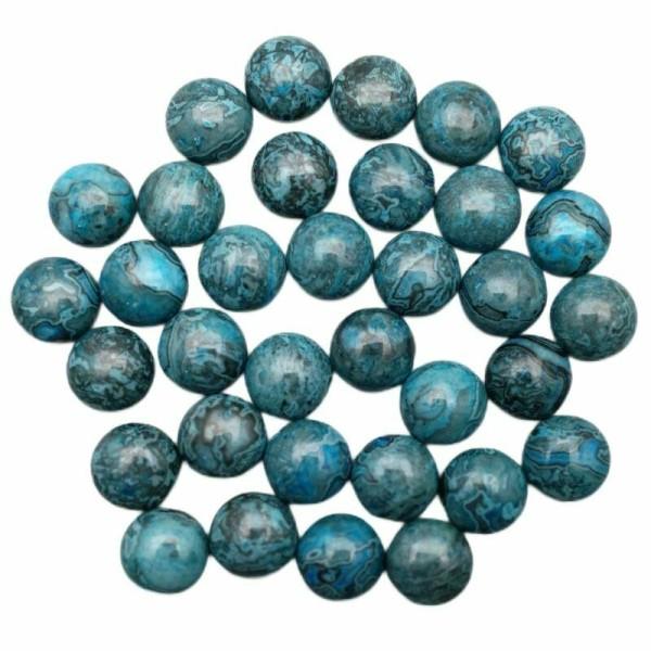 5pcs Bleu Noir en forme de Dôme Rond dos plat Bleu Agate de pierre Naturelle Focal Pierre Cabochon d - Photo n°1