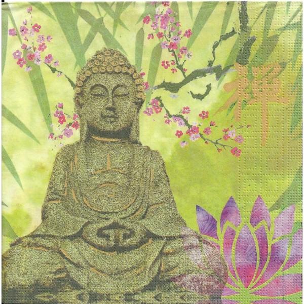 4 Serviettes en papier Bouddha Lotus Calme Format Lunch Decoupage Decopatch 133-3446 PPD - Photo n°2