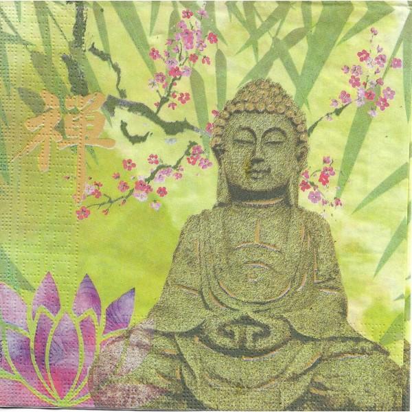 4 Serviettes en papier Bouddha Lotus Calme Format Lunch Decoupage Decopatch 133-3446 PPD - Photo n°1