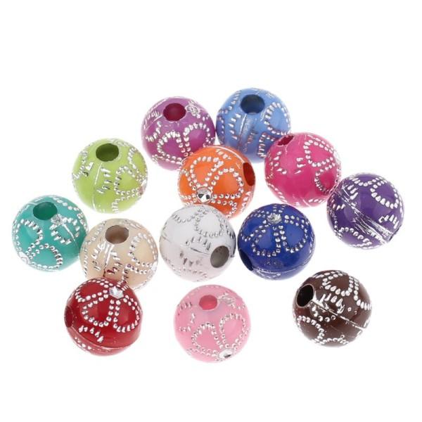 20 Perles en Acrylique Fleur 8mm Couleur Mixte, Creation bijoux, Bracelet, Collier - Photo n°1
