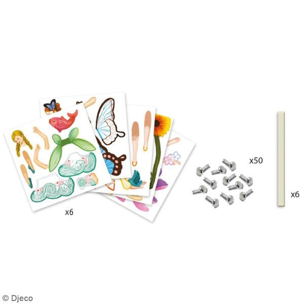 Kit Pantins Fées à colorier - 6 pcs - Photo n°4