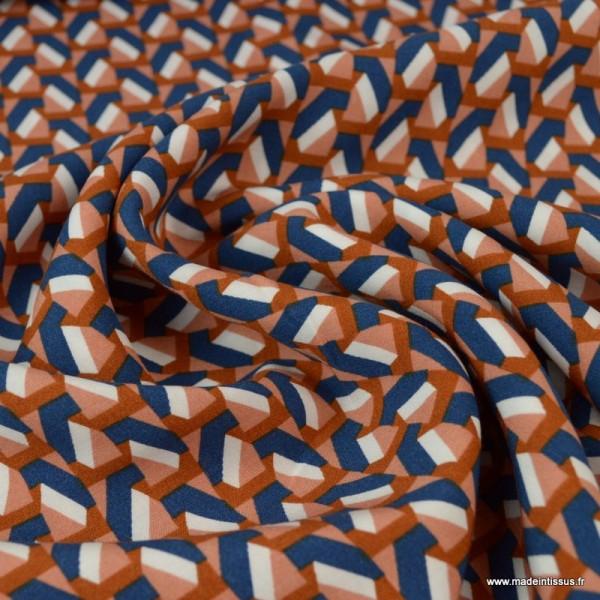 Tissu Viscose  imprimé motifs Graphic retro bleu - Photo n°2