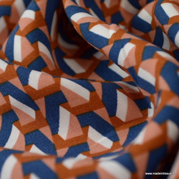 Tissu Viscose  imprimé motifs Graphic retro bleu - Photo n°3