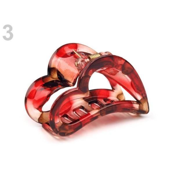 bons plans 2017 matériau sélectionné gamme exclusive 1pc 3 Rouge Carmin Cheveux Griffe Coeur de 4x6.2 Cm, Acrylique De Griffes,  Pinces Bébé, Accessoires