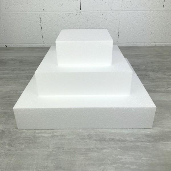 Petite Pièce montée Carrée en polystyrène, Base Coté 35cm à 15cm, 3 socles de 7cm de haut, Hauteur 2 - Photo n°1