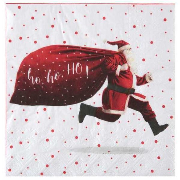 20 Serviettes en papier Noël HoHoHo rouge et blanc - Photo n°1