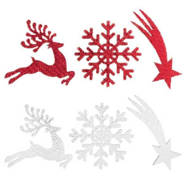 Confettis Noël en bois rennes, flocons,étoiles filantes rouge métallisé - Photo n°1