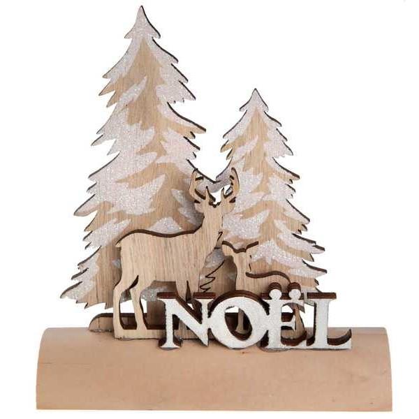 Centre De Table Noel Bûche En Bois Avec Cerf Et Sapin Givré
