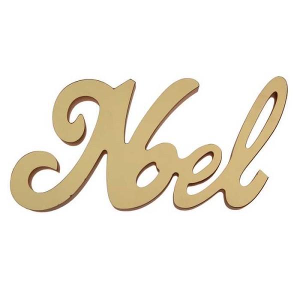 Lettres NOËL en bois métallisé or - Photo n°1