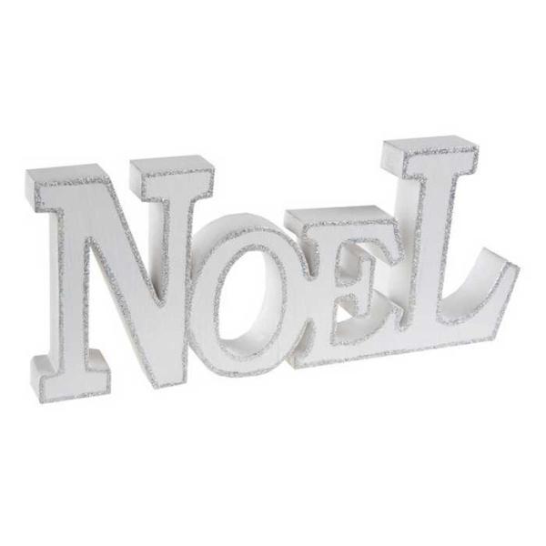 Lettres NOEL en bois blanc pailletées argent 24 cm - Photo n°1