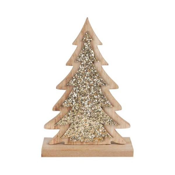 Décor sapin en bois pailleté or de 18 cm - Photo n°1