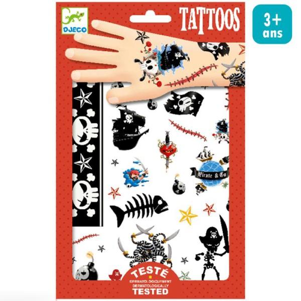 Tatouages temporaires Pirates - 1 planche - Photo n°1
