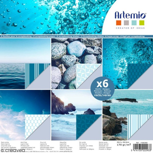 Papier scrapbooking Artemio - Bleu océan - 30,5 x 30,5 cm - 6 feuilles - Photo n°1