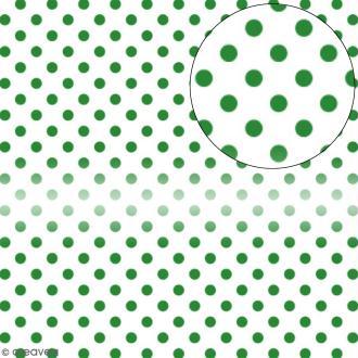 Papier scrapbooking Bazzill transparent 30,5 x 30,5 cm - Pois - Vert