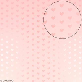 Papier scrapbooking Bazzill 30,5 x 30,5 cm - Coeurs métallisés - Rose barbe à papa