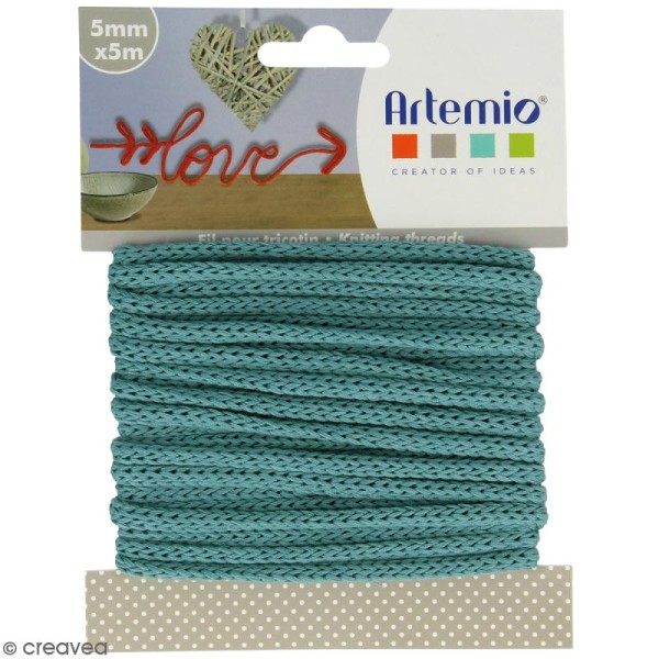 Fil de tricotin - Bleu gris - 5 mm x 5 m - Photo n°1