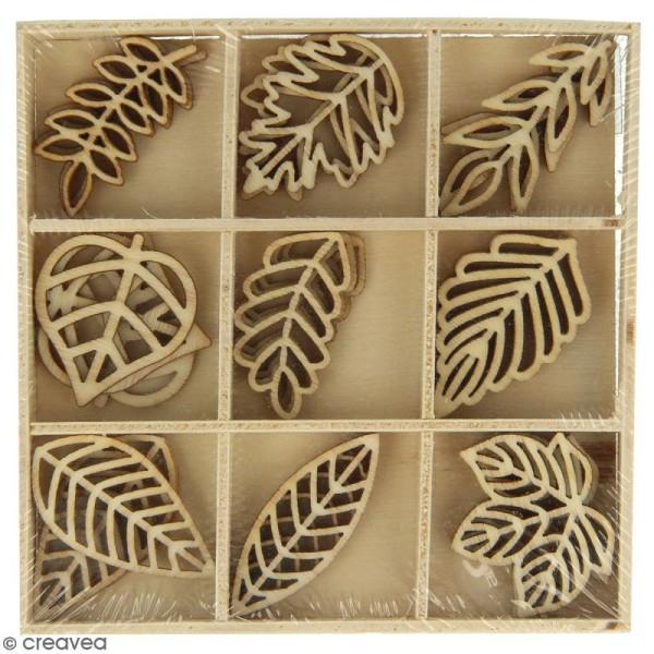 Set de mini silhouettes en bois - Feuilles - 3 x 1,5 cm - 27 pcs - Photo n°1