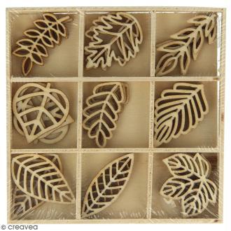Set de mini silhouettes en bois - Feuilles - 3 x 1,5 cm - 27 pcs