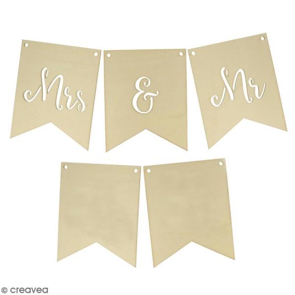 Fanions en bois - Mr & Mrs - 15 x 12 cm - 5 pcs - Photo n°1