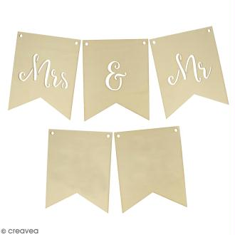 Fanions en bois - Mr & Mrs - 15 x 12 cm - 5 pcs