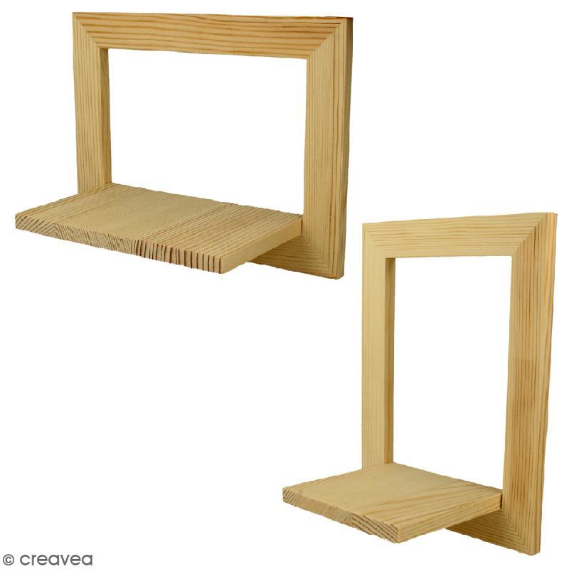 Cadre tag re en bois 20 x 15 x 10 cm 2 pcs cadre photo d corer creavea - Etagere pour cadre photo ...