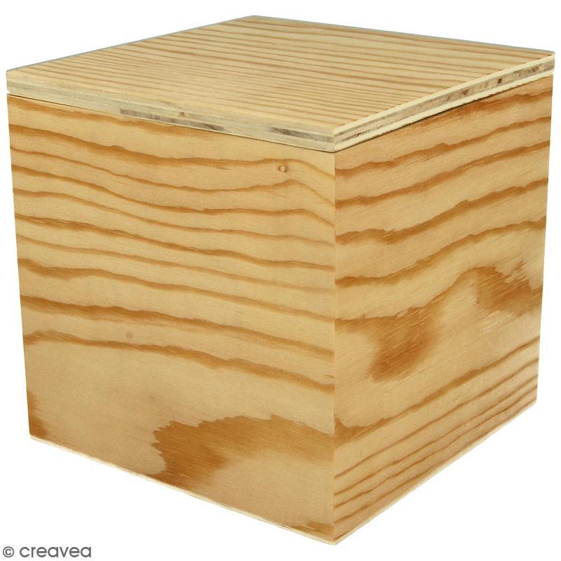 Boîte carrée en bois à décorer - 12 x 12 x 12 cm - Photo n°1