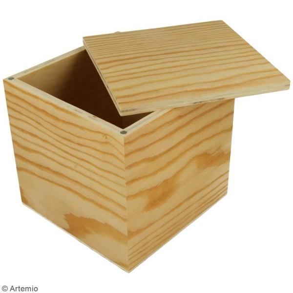 Boîte carrée en bois à décorer - 12 x 12 x 12 cm - Photo n°2