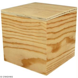 Boîte carrée en bois à décorer - 12 x 12 x 12 cm
