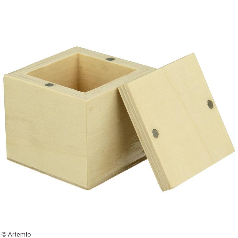 Petite boîte carrée en bois à décorer - 5 x 5 x 5 cm - Photo n°2