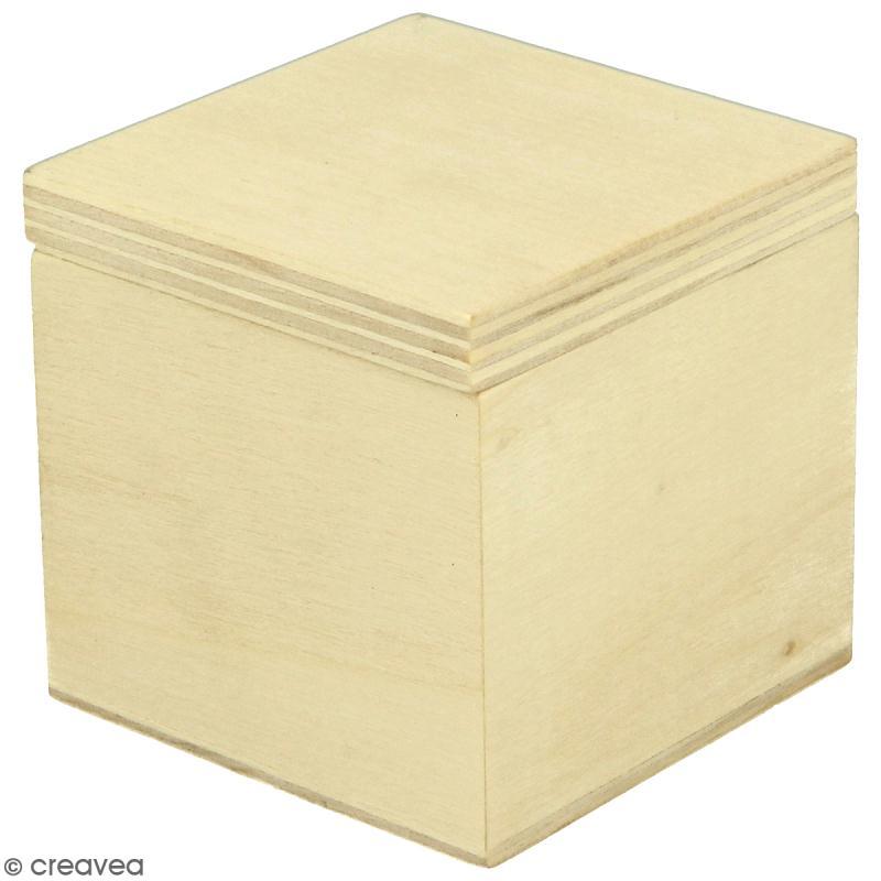 Petite boîte carrée en bois à décorer - 5 x 5 x 5 cm - Photo n°1