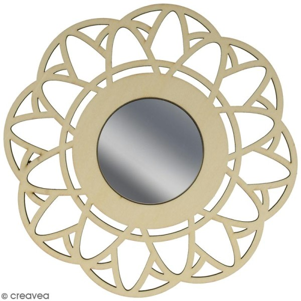Miroir ajouré à décorer - Fleur - 20 cm - Photo n°1