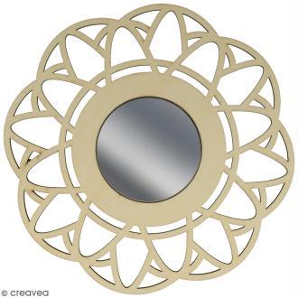 Miroir ajouré à décorer - Fleur - 20 cm