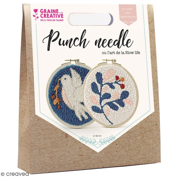Kit punch needle - Colombe et feuillages - 15 cm - Photo n°1