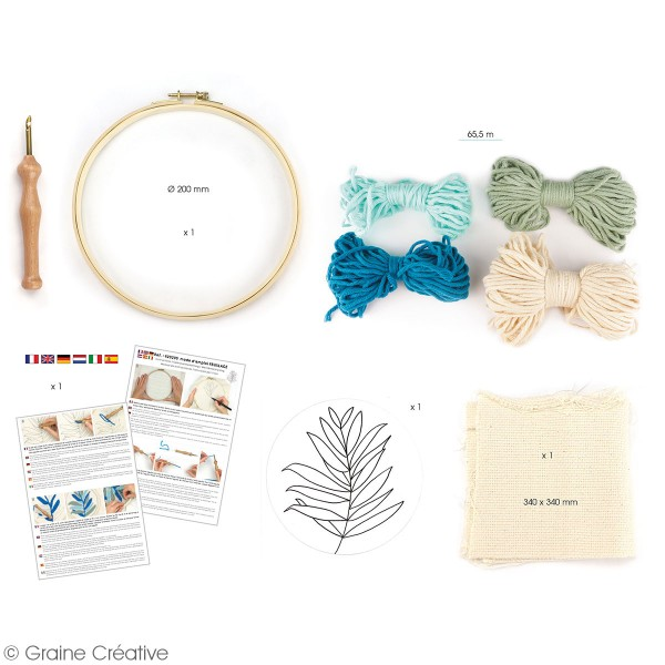 Kit punch needle - Feuillages - 20 cm - Photo n°2