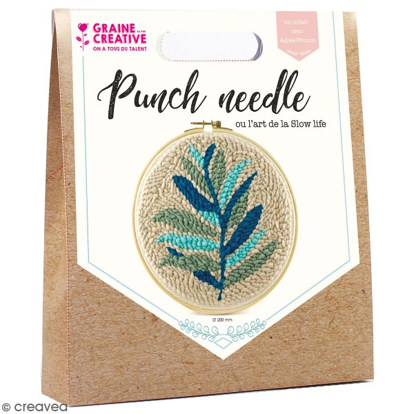 Kit punch needle - Feuillages - 20 cm - Photo n°1