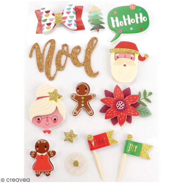 Stickers 3D - Noël - 12 à 60 mm - 13 pcs - Photo n°1