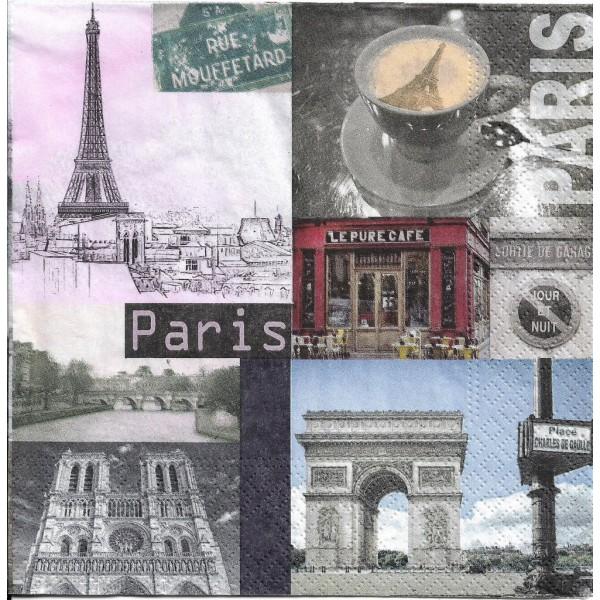4 Serviettes en papier Symboles de Paris Format Lunch Decoupage Decopatch 75273 Nouveau - Photo n°1