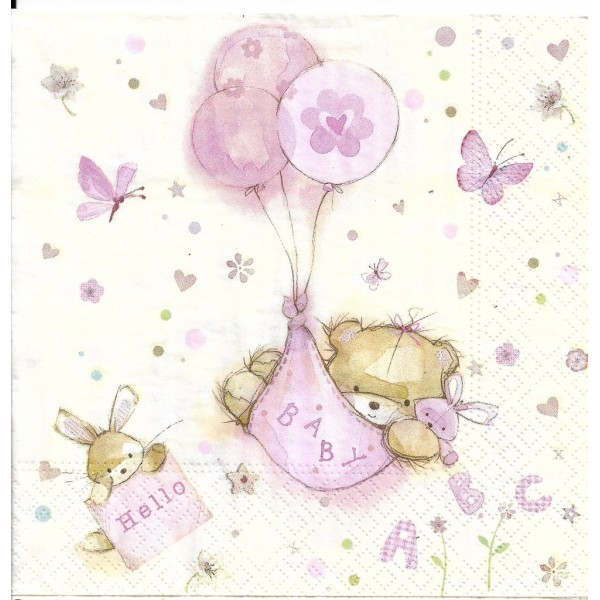 4 Serviettes en papier Naissance Nounours Format Lunch Decoupage Decopatch 75289 Nouveau - Photo n°1